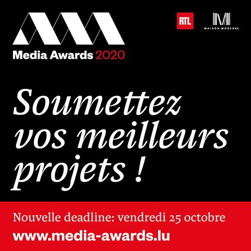 Media Awards 2020: la deadline pour les candidatures repoussée au 25 octobre